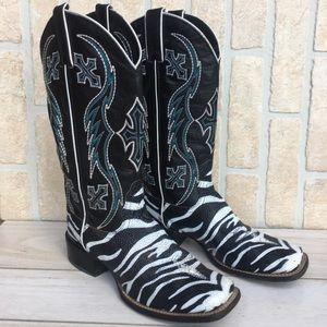 Nocona Black Zebra Stingray Cowgirl Boots Sz 8 B
